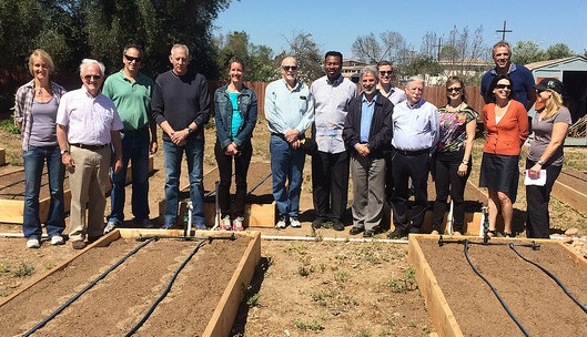 SRP staff with UCSD SRP Center researchers and community partners at the urban garden