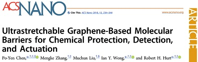 Screenshot of ACS Nano article titled, Ultrastretchable Graphene-Based Molecular Barriers for Chemical Protection, Detection, and Actuation