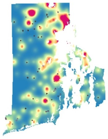 Heat map showing risk of PFAS contamination in Rhode Island