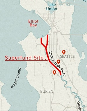 Location of the Superfund site on the Lower Duwamish River.
