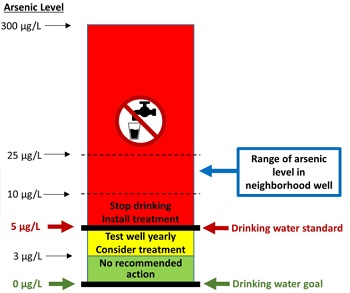 Graph used to inform households of potential elevated arsenic levels in their neighborhood wells