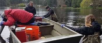 UW SRP Center researchers collect water samples from Lake Killarney