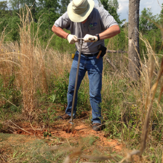 Researchers collected soil samples from the Holcomb Creosote Superfund Site in Yadkinville, North Carolina