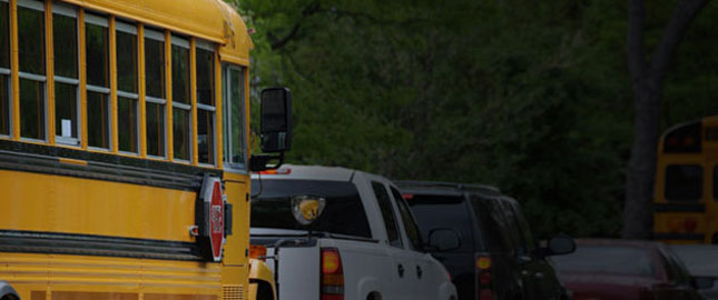 Picture of a school bus waiting in traffic