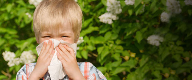 Child blowing his nose into a tissue with flowers in the background