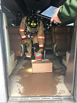 IAFF trainee practices using HazSim device