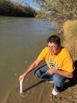 Rock worked with Karletta Chief, Ph.D., from the University of Arizona to gather water and sediment samples after the Gold King Mine Spill, which affected many Navajo communities.
