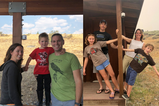 Two pictures of families in the Methow Valley, happy and smiling