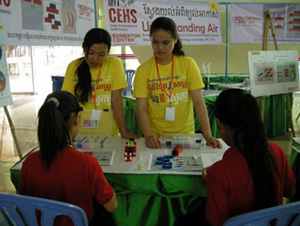 Cambodian students volunteering